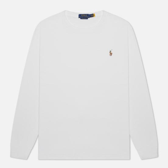 Мужской лонгслив Polo Ralph Lauren Custom Slim Fit Interlock White