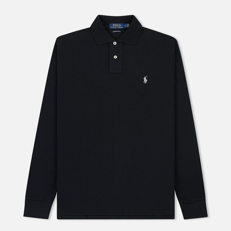 Мужской лонгслив Polo Ralph Lauren Custom Slim Fit Polo Basic Mesh Black