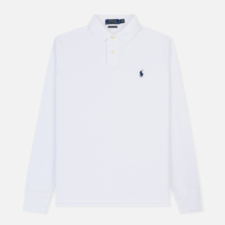 Мужской лонгслив Polo Ralph Lauren Custom Slim Fit Polo Basic Mesh White