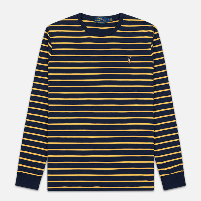 Мужской лонгслив Polo Ralph Lauren Multi Pony Pima Polo Stripe French Navy/Gold Bugle