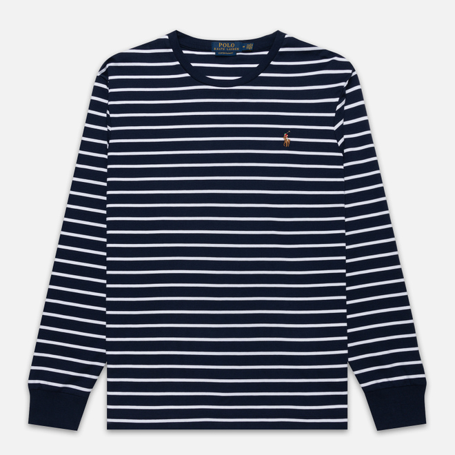 Мужской лонгслив Polo Ralph Lauren Multi Pony Pima Polo Stripe French Navy/White