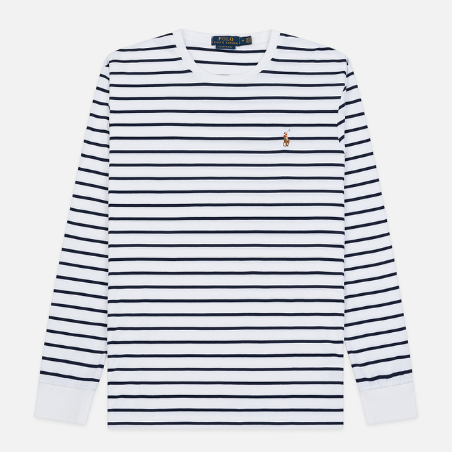 Мужской лонгслив Polo Ralph Lauren Multi Pony Pima Polo Stripe White/French Navy
