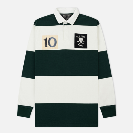 Мужской лонгслив Polo Ralph Lauren Polo Classic Fit Striped Rugby College Green/Deckwash White