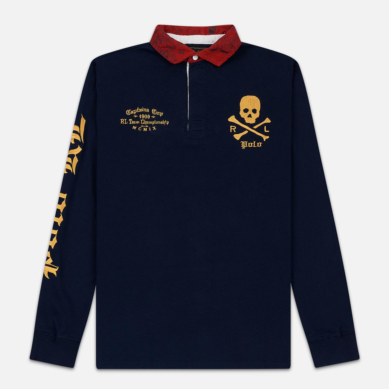 Мужской лонгслив Polo Ralph Lauren Skull And Crossbones Emblem Rugby Cruise Navy