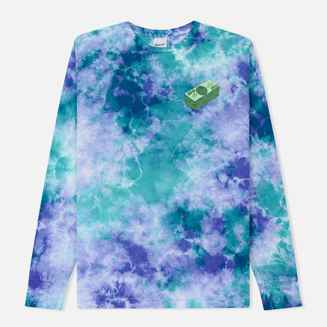 Мужской лонгслив RIPNDIP Money Talks Green/Purple Acid Wash