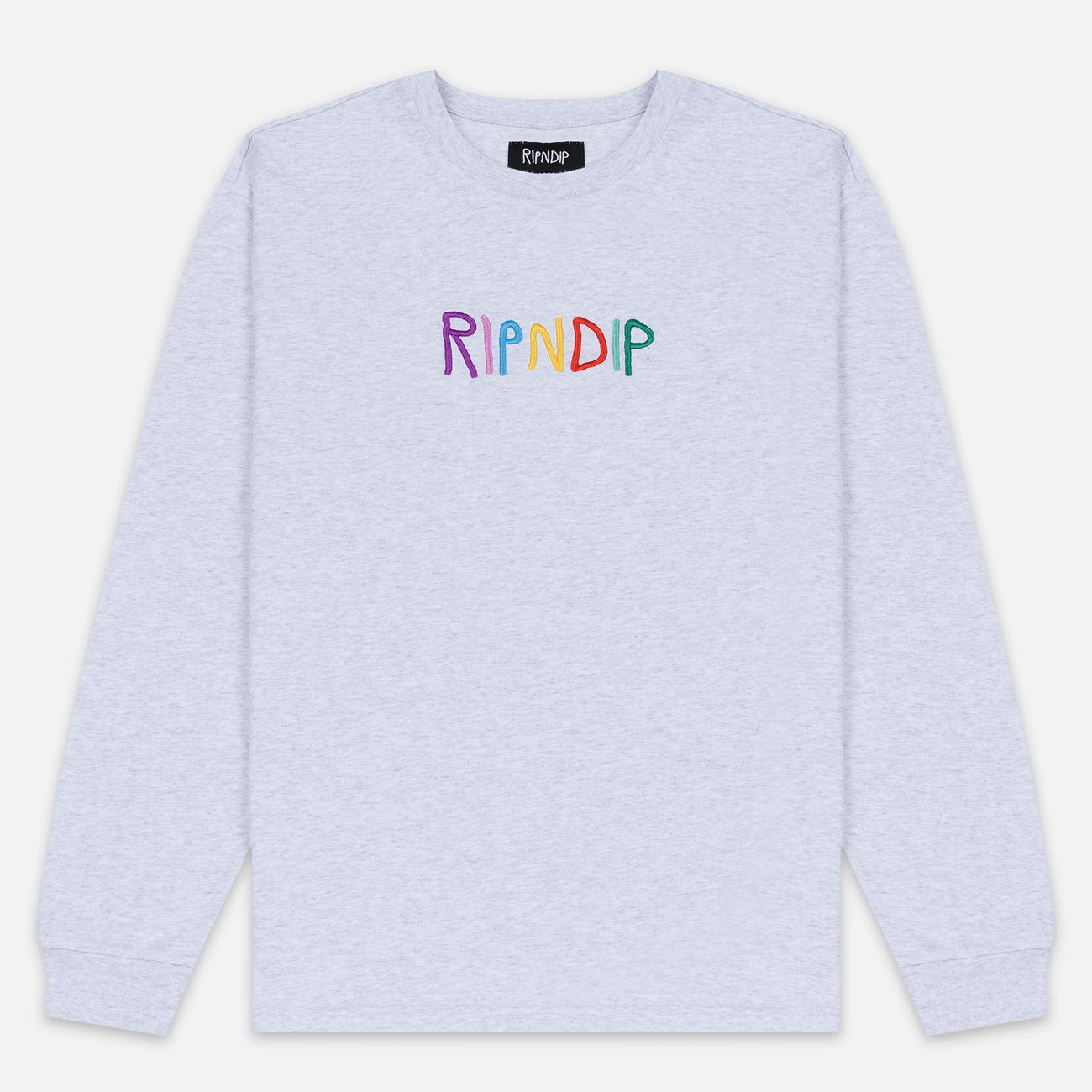 Мужской лонгслив RIPNDIP EMB Logo Heather Grey