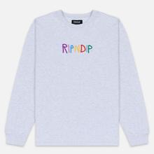 Мужской лонгслив RIPNDIP EMB Logo Heather Grey фото- 0