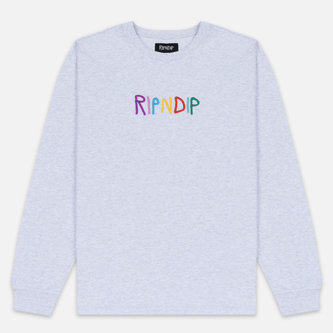 Мужской лонгслив RIPNDIP EMB Logo Heather Grey