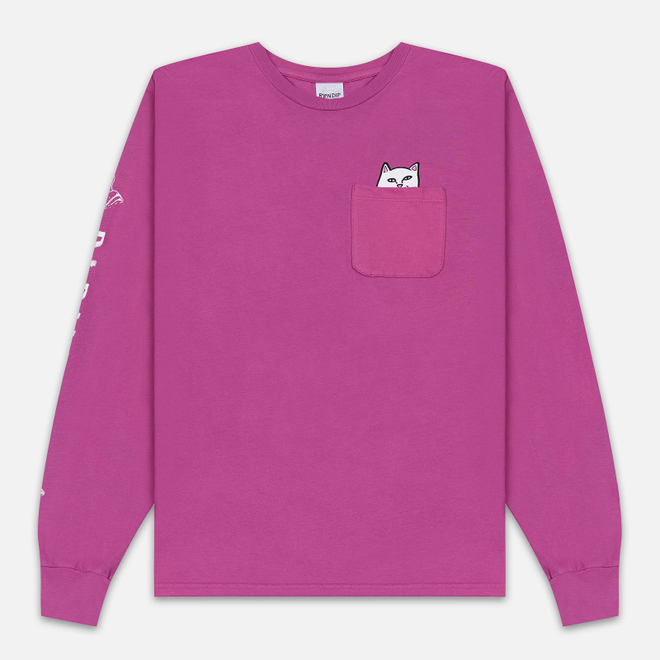 Мужской лонгслив RIPNDIP Lord Nermal Pocket Fuchsia
