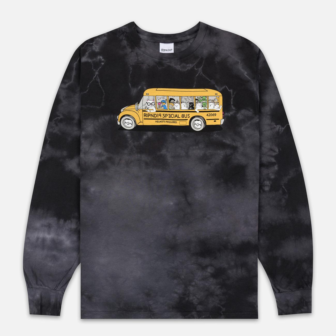 Мужской лонгслив RIPNDIP School Bus Black Lightning Wash