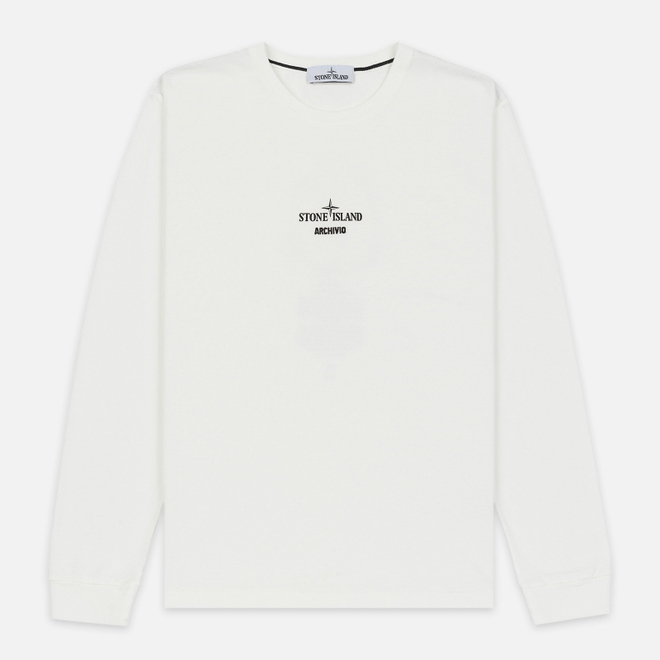 Мужской лонгслив Stone Island Archivio Project Poly Felt Natural White