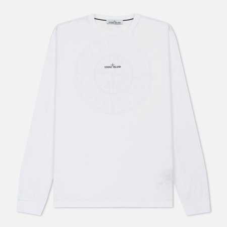Мужской лонгслив Stone Island Double Pin Reflective Compass Logo White