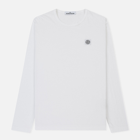 Мужской лонгслив Stone Island Fissato Dye Treatment White