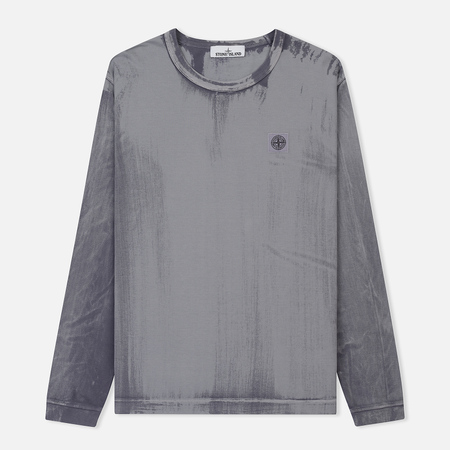 Мужской лонгслив Stone Island Hand Brushed Colour Treatment Lavender