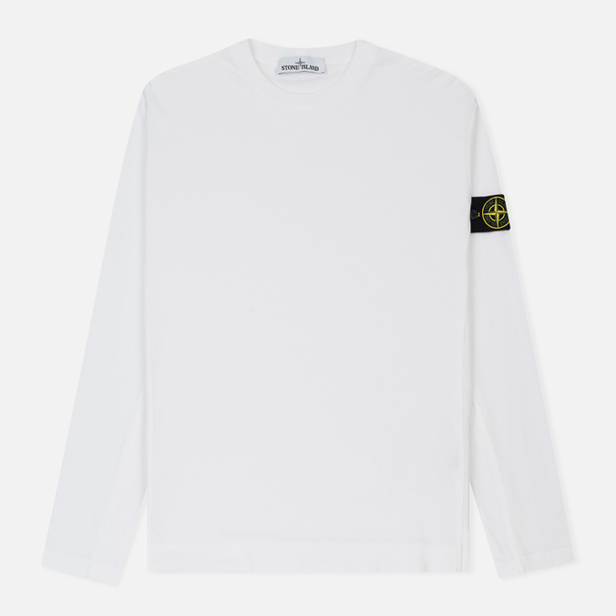 Мужской лонгслив Stone Island Mako Cotton Interlock White
