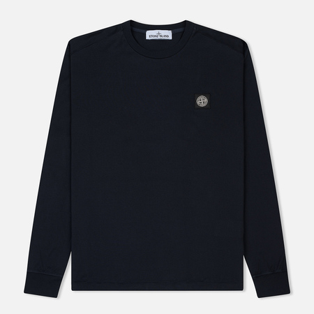 Мужской лонгслив Stone Island Patch Program Crew Neck Navy Blue