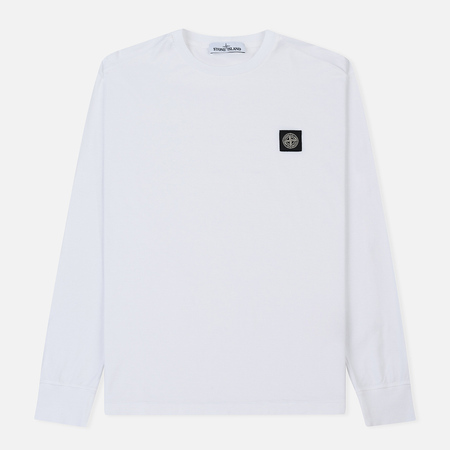 Мужской лонгслив Stone Island Patch Program Crew Neck White