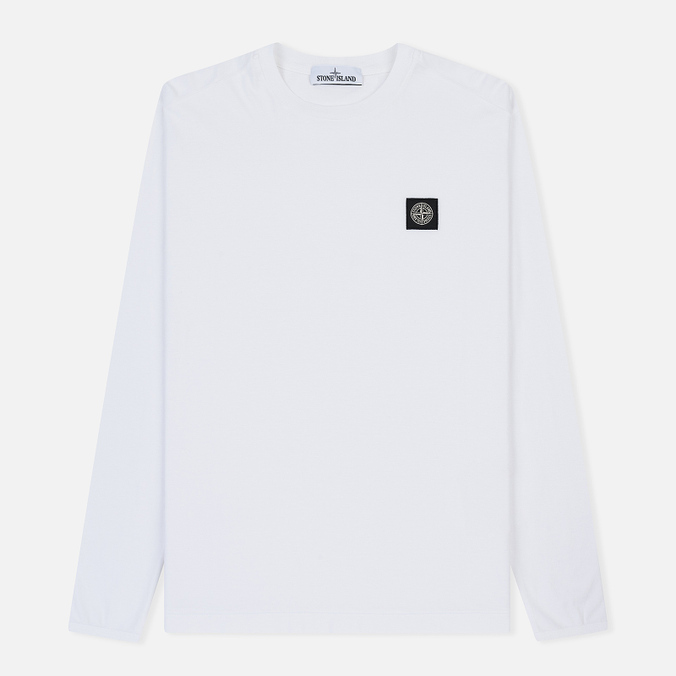 Мужской лонгслив Stone Island Patch Program White