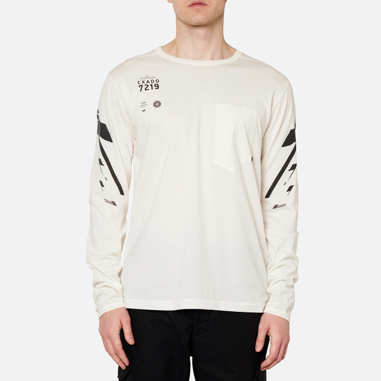 Мужской лонгслив Stone Island Shadow Project 7219 CXADO Chest Pocket Natural White