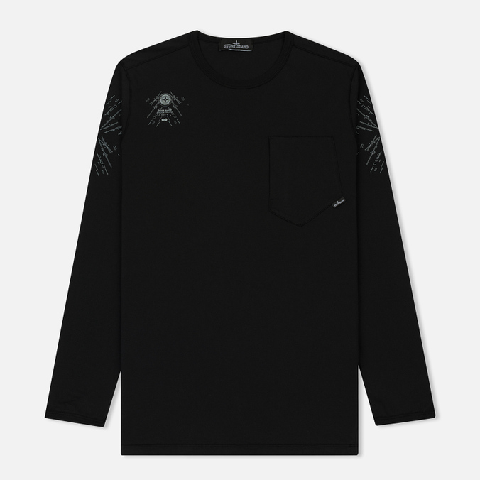 Мужской лонгслив Stone Island Shadow Project Catch Pocket Digital Prints Black