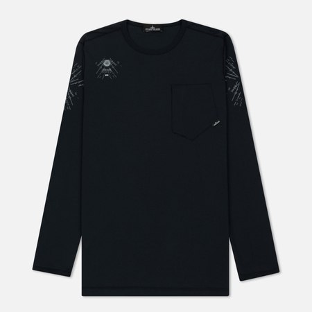 Мужской лонгслив Stone Island Shadow Project Catch Pocket Digital Prints Navy
