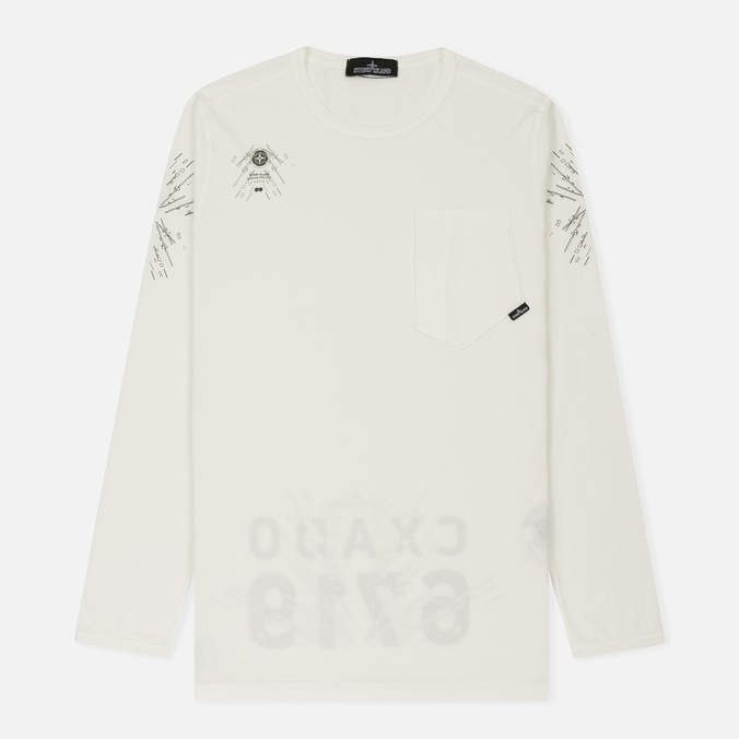 Мужской лонгслив Stone Island Shadow Project Catch Pocket Digital Prints Off White