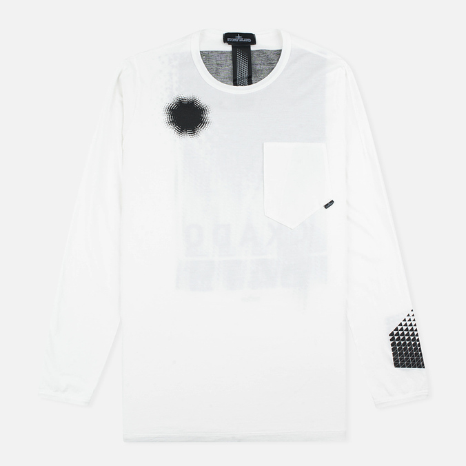 Мужской лонгслив Stone Island Shadow Project Catch Pocket White