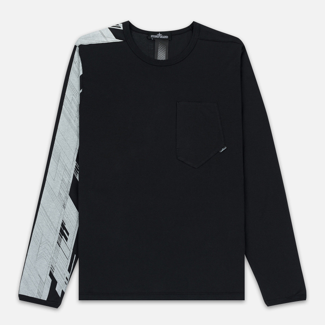Мужской лонгслив Stone Island Shadow Project Mako Cotton Jersey Garment Dyed Pocket Black