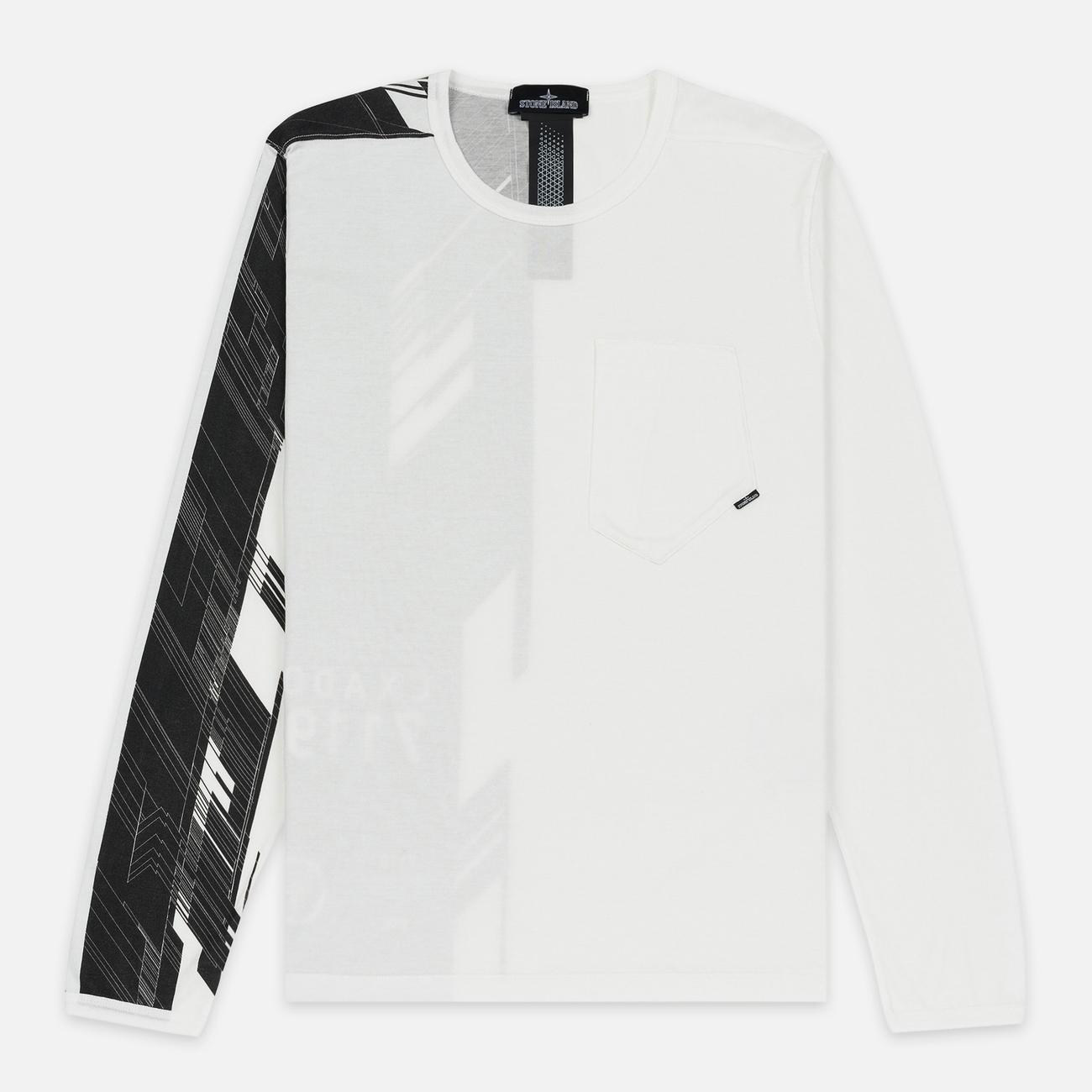 Мужской лонгслив Stone Island Shadow Project Mako Cotton Jersey Garment Dyed Pocket Natural White