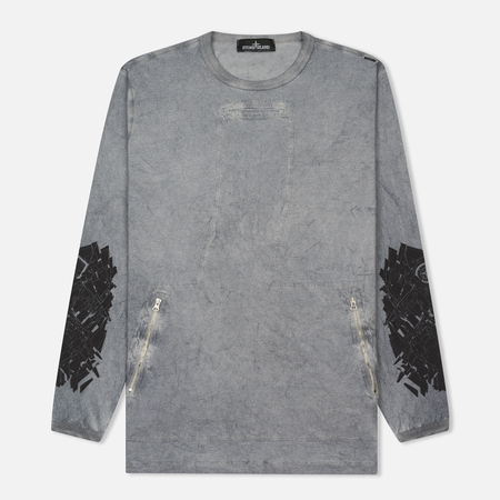 Мужской лонгслив Stone Island Shadow Project Marbled Effect Navy