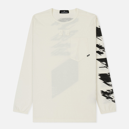 Мужской лонгслив Stone Island Shadow Project Pocket Crew Neck Logo Printed Natural White