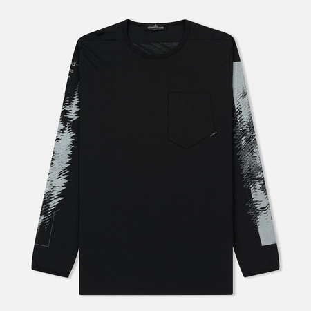 Мужской лонгслив Stone Island Shadow Project Printed Catch Pocket 1 Black