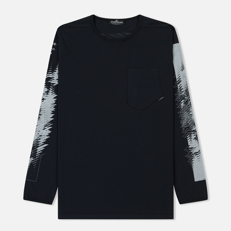 Мужской лонгслив Stone Island Shadow Project Printed Catch Pocket 1 Navy Blue