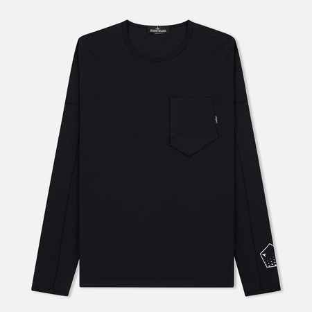 Мужской лонгслив Stone Island Shadow Project Printed Catch Pocket Garment Dyed Black