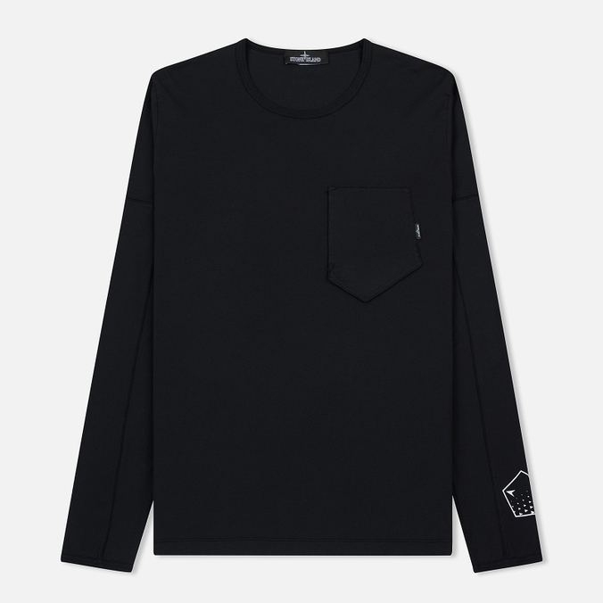 Мужской лонгслив Stone Island Shadow Project Printed Catch Pocket Garment Dyed Black