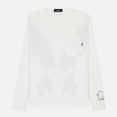 Мужской лонгслив Stone Island Shadow Project Printed Catch Pocket Garment Dyed Natural White
