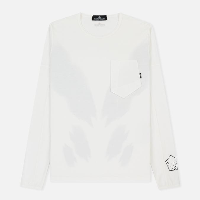 Мужской лонгслив Stone Island Shadow Project Printed Catch Pocket Garment Dyed Natural White