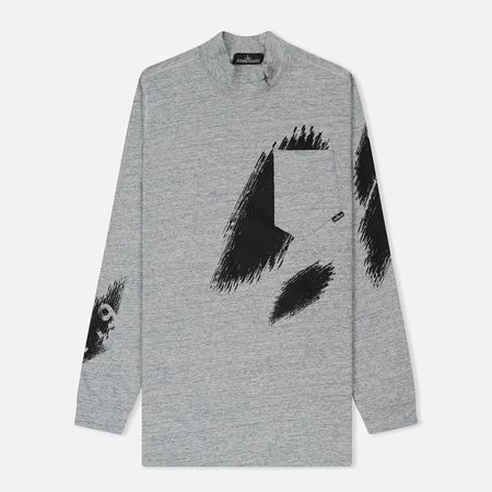 Мужской лонгслив Stone Island Shadow Project Printed Mock Neck Steel Grey/Black