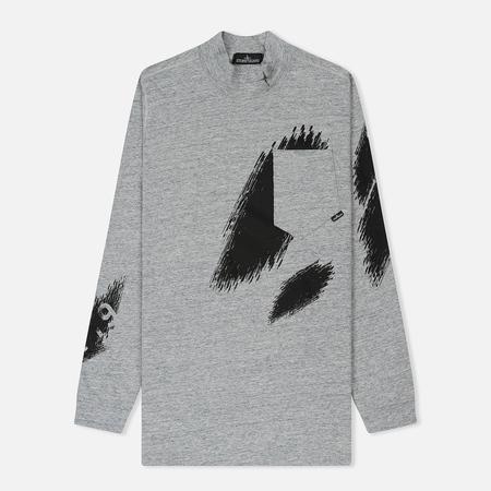 Мужской лонгслив Stone Island Shadow Project Printed Mock Neck Steel Grey/Black