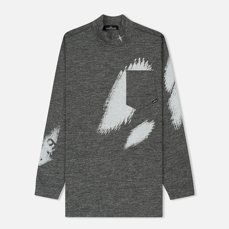 Мужской лонгслив Stone Island Shadow Project Printed Mock Neck Steel Grey/White