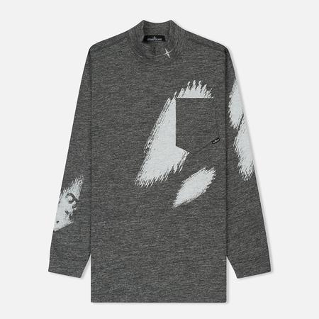 Мужской лонгслив Stone Island Shadow Project Printed Mock Neck Steel Grey/White