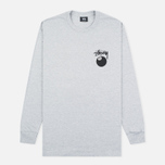 Мужской лонгслив Stussy 8 Ball Grey Heather фото- 0