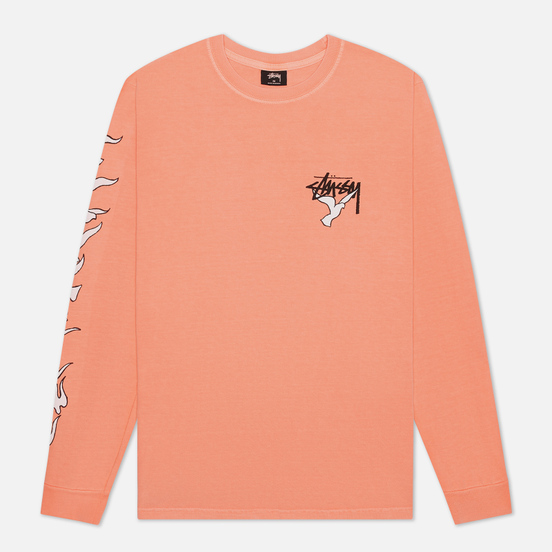 Мужской лонгслив Stussy One Love Pigment Dyed Neon Orange