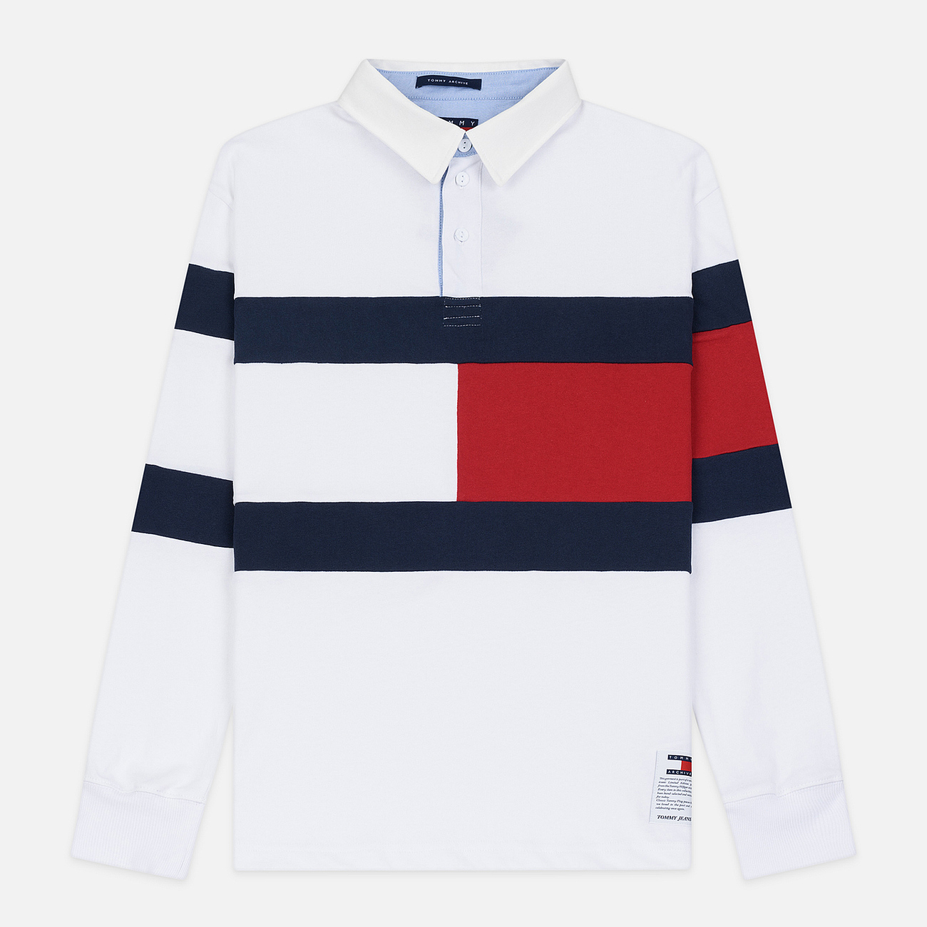 Мужской лонгслив Tommy Jeans Flag Rugby Polo Classic White/Multi