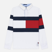 Мужской лонгслив Tommy Jeans Flag Rugby Polo Classic White/Multi фото- 0