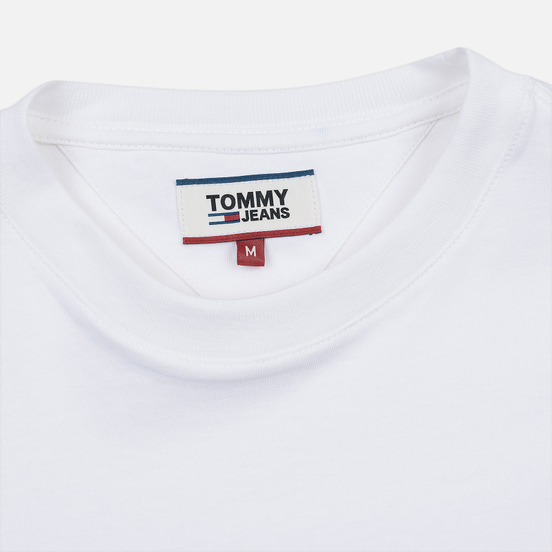 Мужской лонгслив Tommy Jeans Logo Corp Regular Fit Classic White