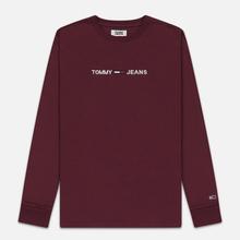 Мужской лонгслив Tommy Jeans Small Logo Burgundy фото- 0