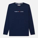 Мужской лонгслив Tommy Jeans Small Text Black Iris фото- 0