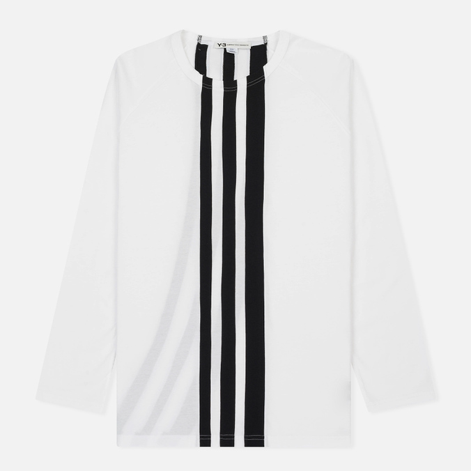 Мужской лонгслив Y-3 3-Stripes LS White/Black