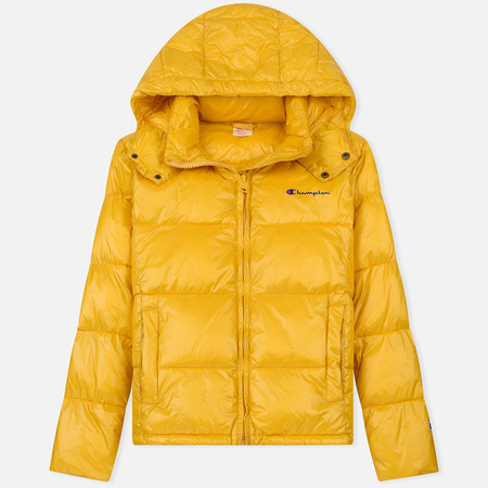 Мужской пуховик Champion Reverse Weave Padded Zip-Up Funnel Neck Hooded Yellow